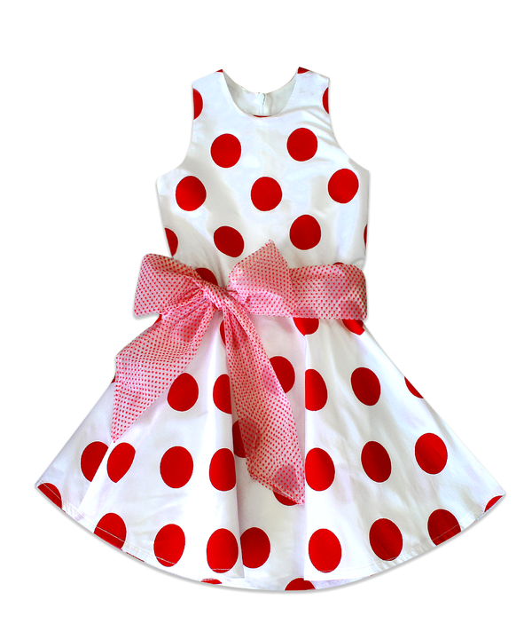 Cade White and Red Polka Dot Twirly Taffeta Dress