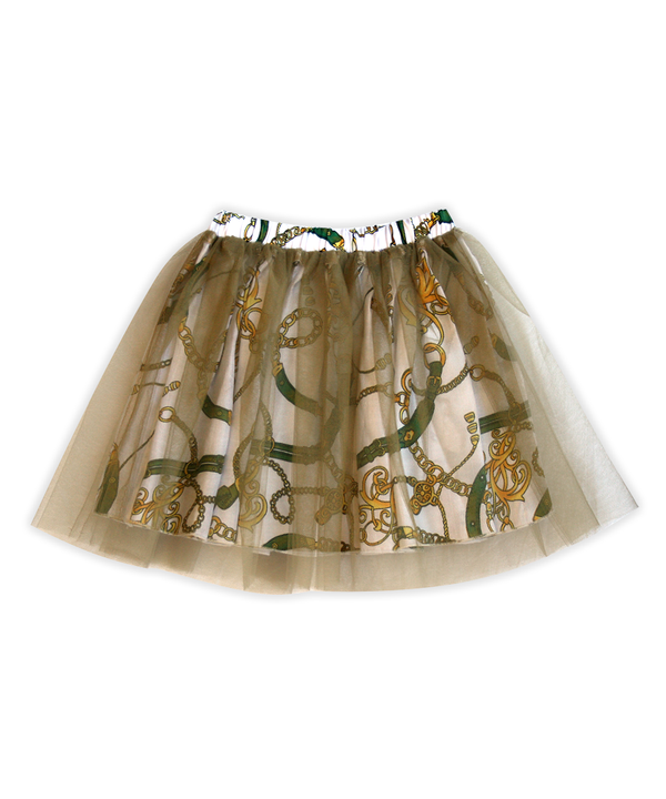 Regan Reversible Equestrian-Print with Gold Tulle Tutu Skirt