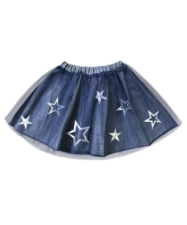 Piper Silver Stars Denim and Tulle Tutu Skirt