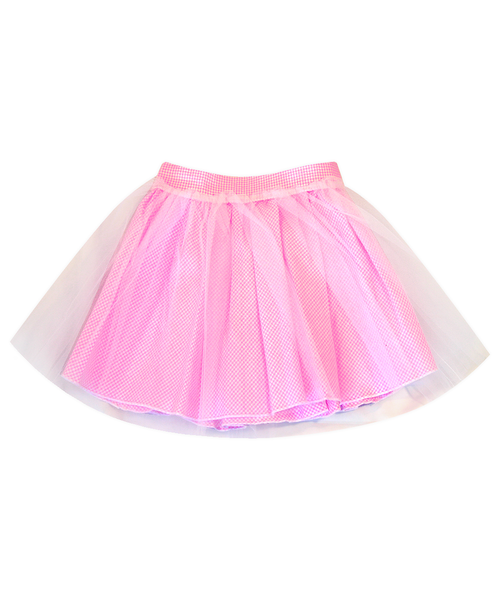Regan Reversible Pink Seersucker Tulle Skirt
