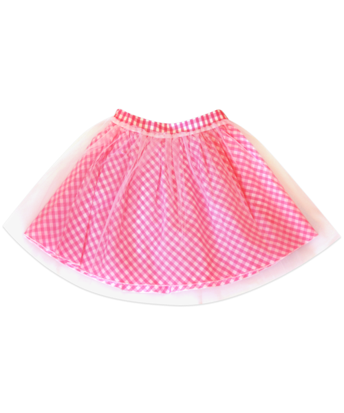 Regan Reversible Pink Check Tulle Skirt