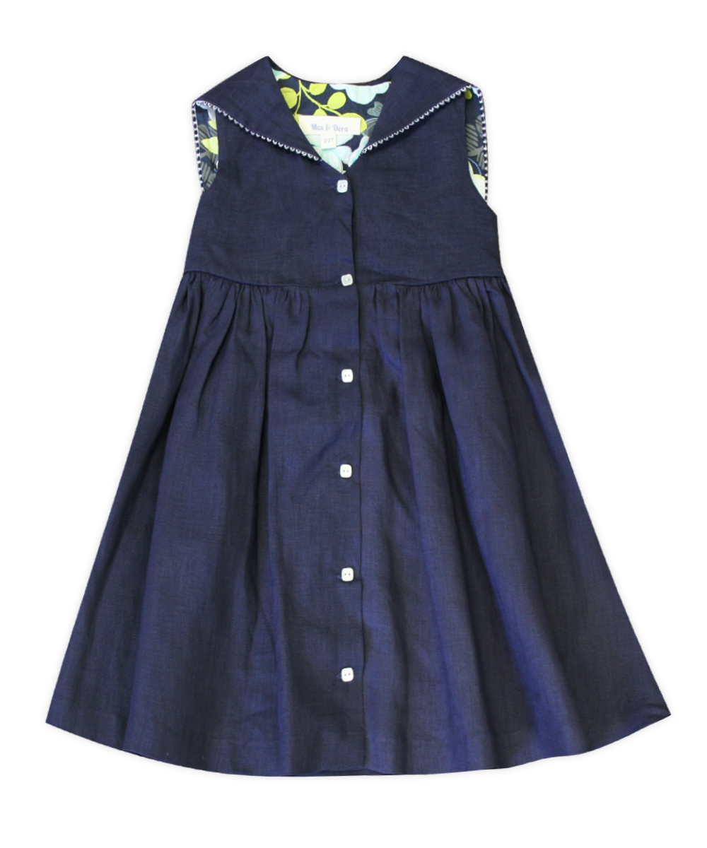 Emily Navy Linen Sailor Dress