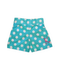 Aqua and white polka dot back elastic waist short with option to monogram.