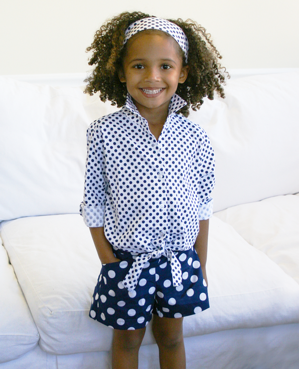 Sandra Navy & White Dot Shorts