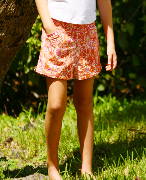 Sandra Orange & Pink Paisley Shorts