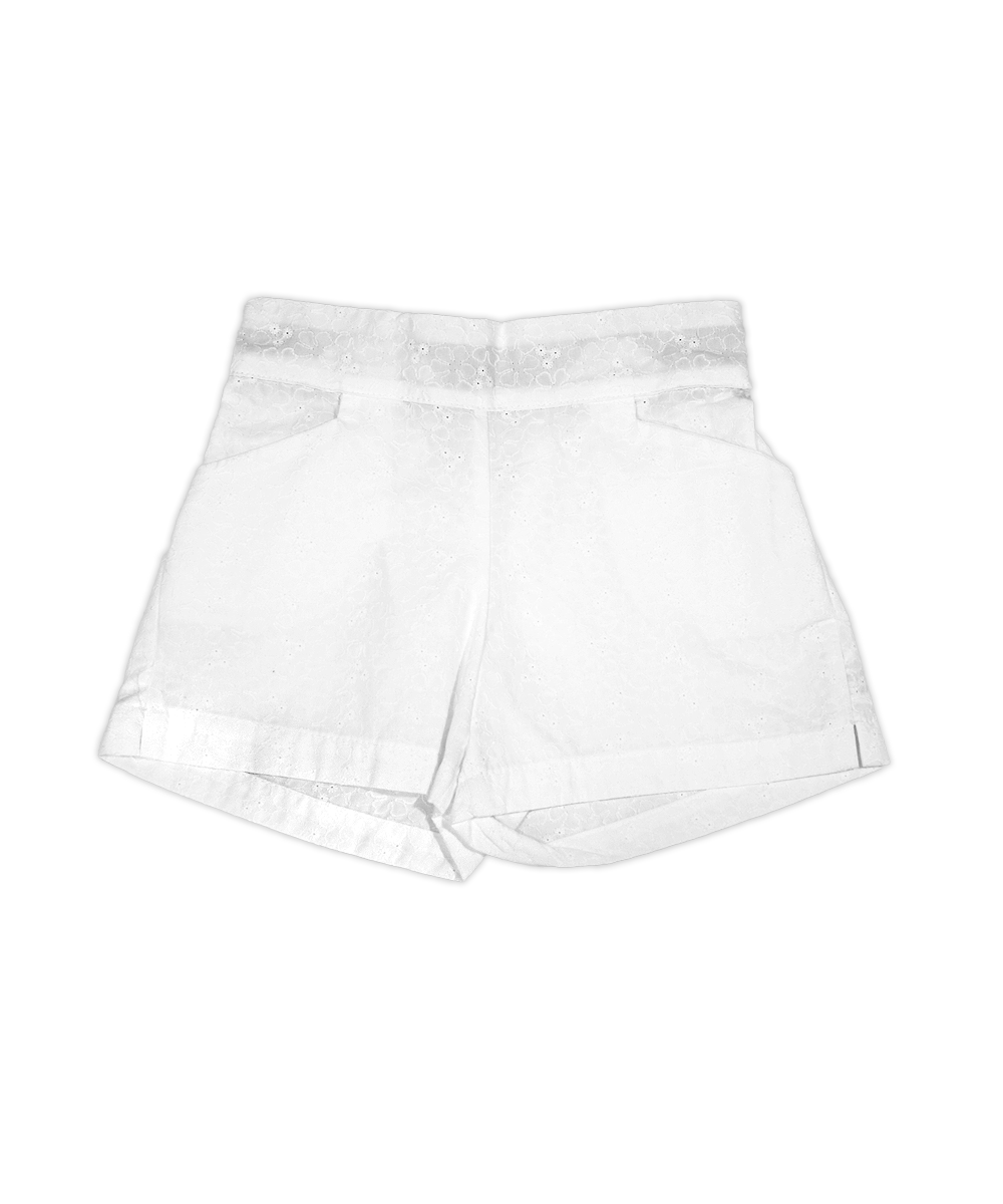 Sandra White Shorts with Floral Detail