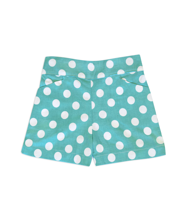 Sandra Aqua & White Dot Shorts