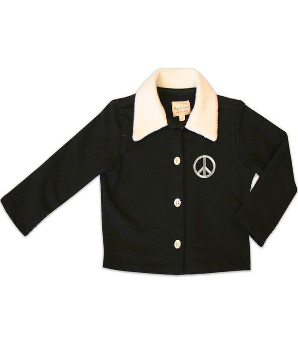 The Sarah Jane Shearling Collar Cardigan w/ Silver Peace Sign