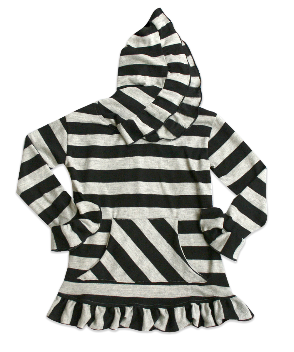 Skylar Hooded Knit Charcoal and Black Striped Tunic