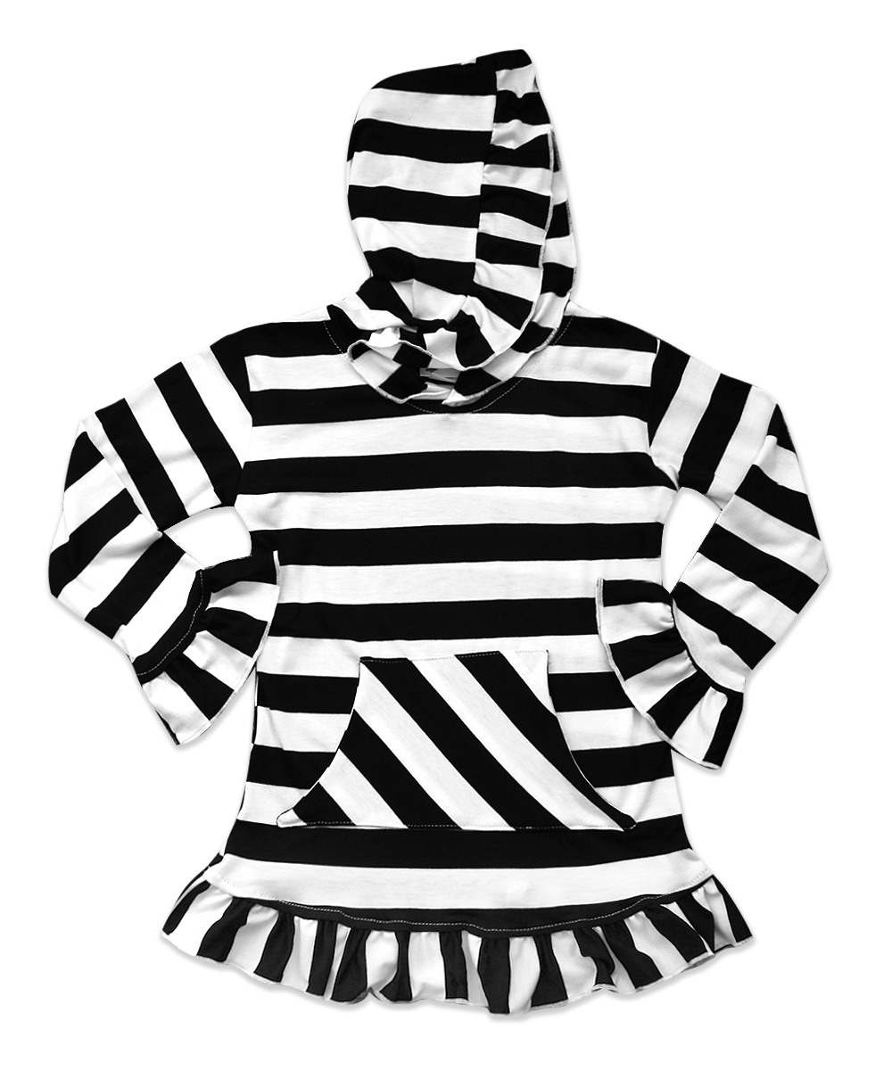 Skylar Hooded Black/White Striped Tunic