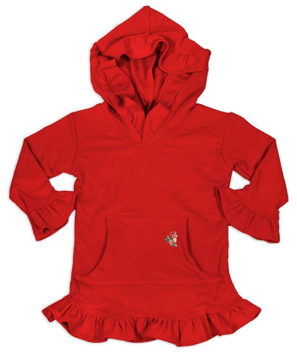 Skylar Red Hooded Tunic with a floral applique