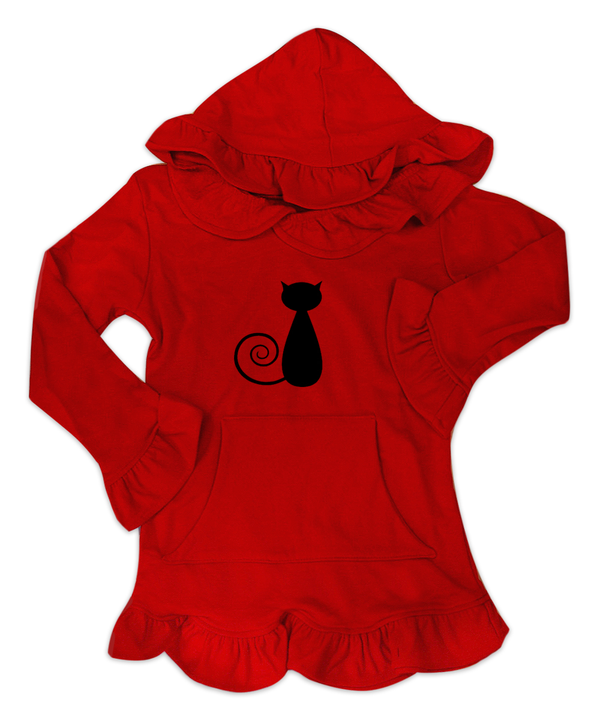 Skylar Red Hooded Tunic w/ Black Cat