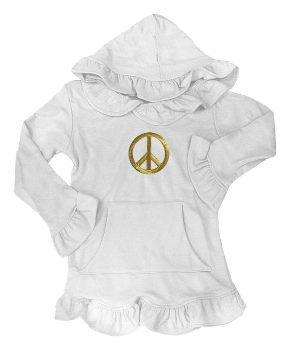 Skylar White Hooded Tunic with Gold Peace Sign