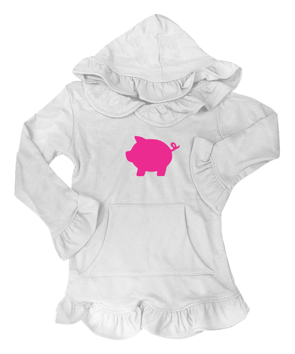 Skylar White with Pink Pig Applique
