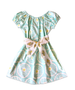 "Stella ""BOHO"" Style Dress in Aqua Flower with Vintage Belt"