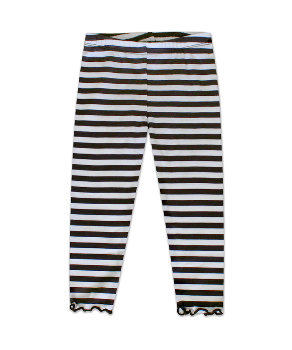 Claire Brown Ivory Stripe legging with Scalloped Edge