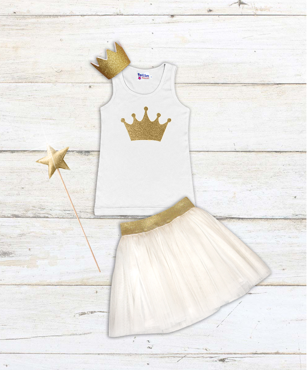 """Birthday Outfit"" Gold Sparkle Crown Tank with Sydney Gold Elastic Waist Mesh Skirt"