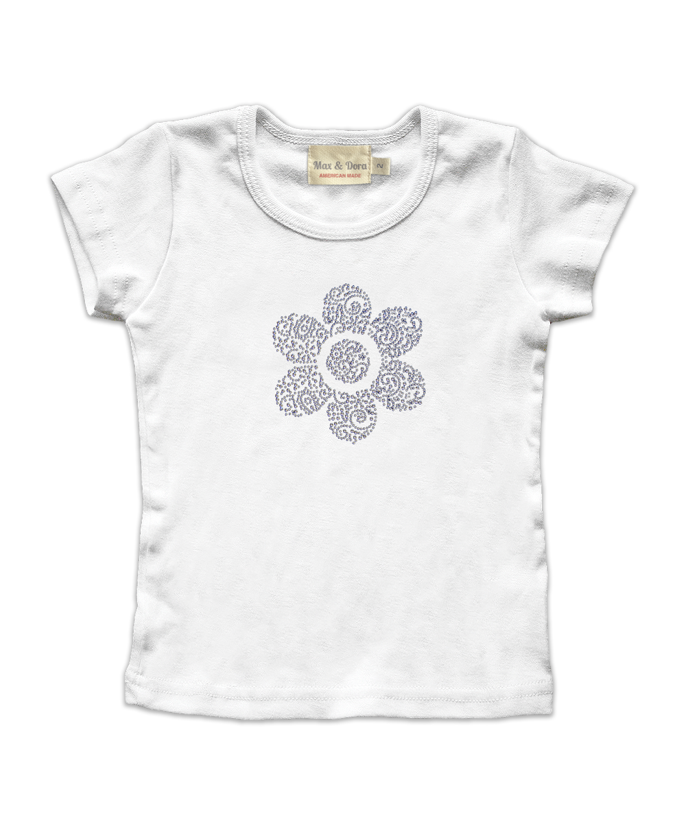 White Cap Sleeve Tee with Silver Rhinestone Flower