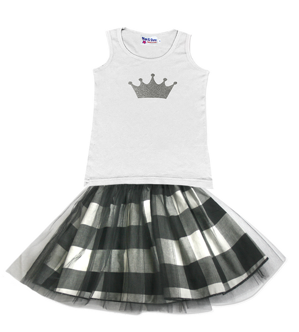 Princess Silver Sparkle Crown White Jersey Tank Top