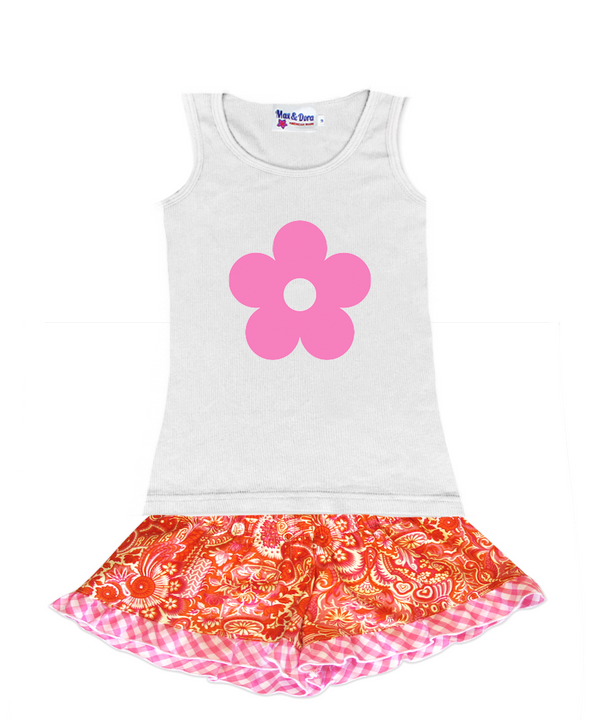 Flower Power Pink Flocked Daisy on Jersey Tank Top