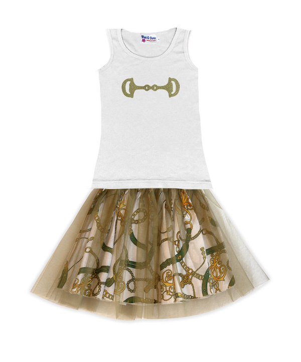 Gold Sparkle Bit on White Jersey Tank Top
