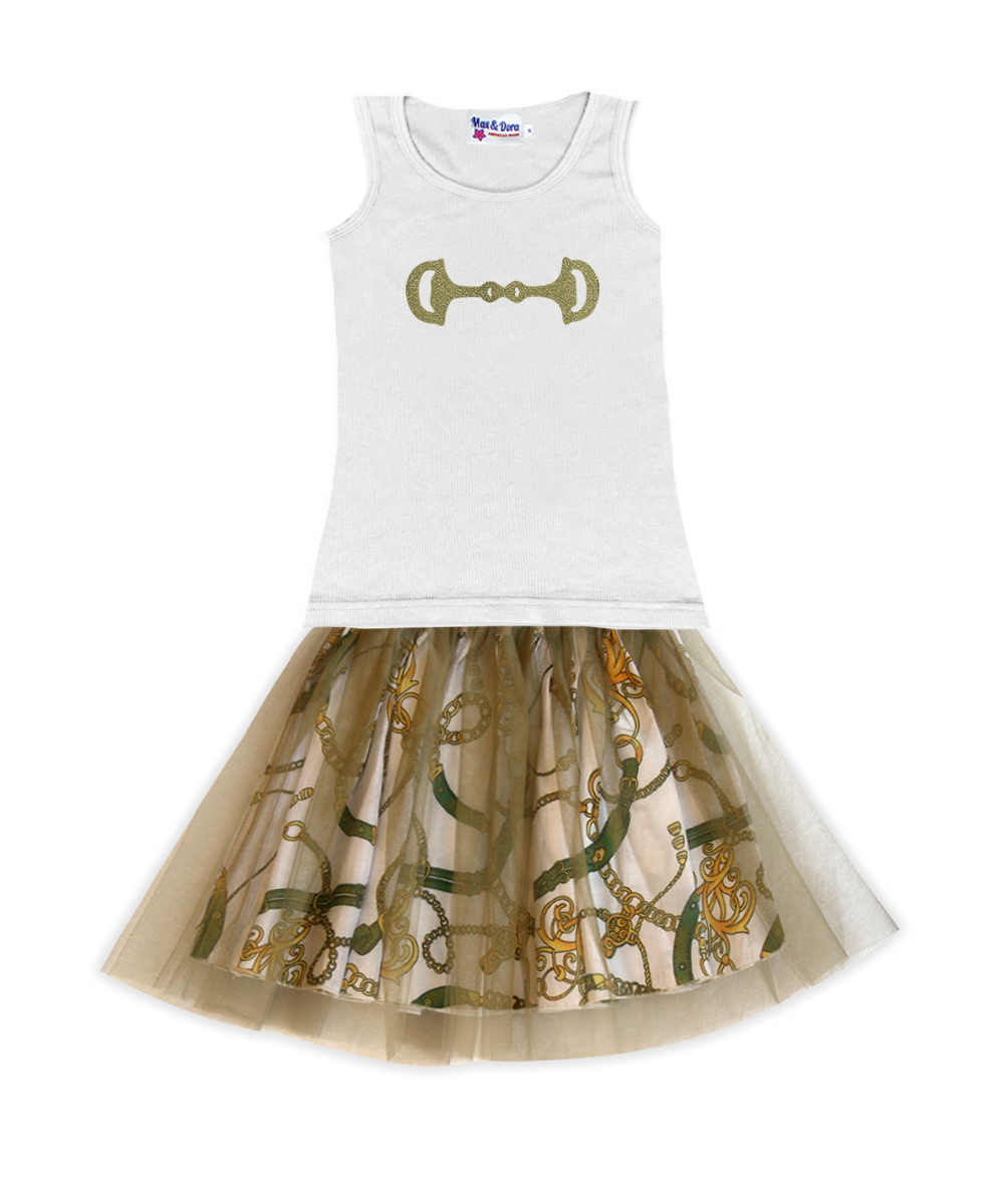 Gold Horse Bit Tee with Regan Reversible Equestrian-Print with Gold Tulle Tutu Skirt Outfit