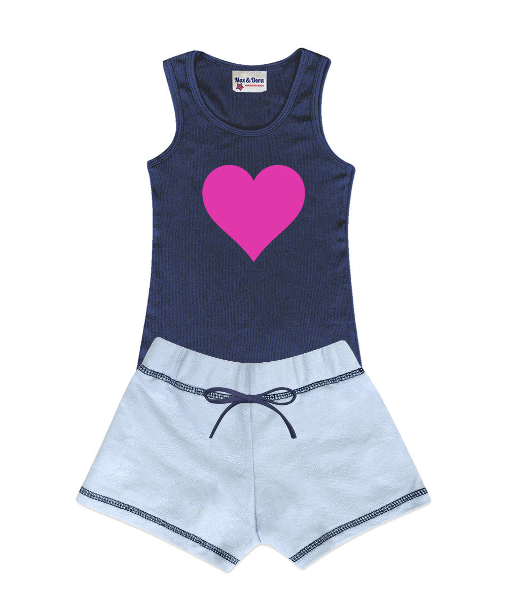 Pink Heart Embellished Jersey Tank Top and Sophie French Terry Light Blue with Contrast Navy Stitching Set