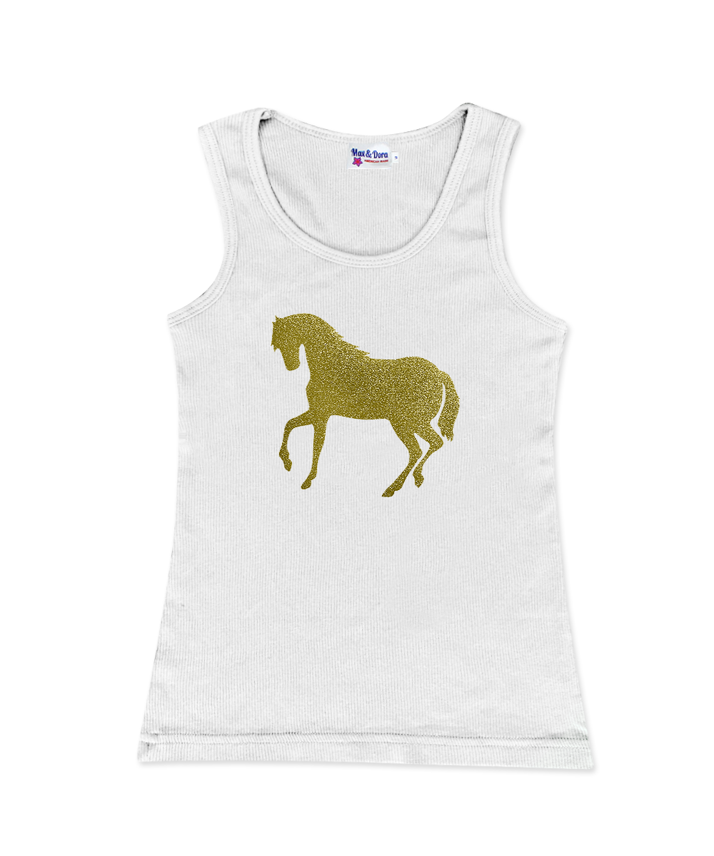 Gold Sparkle Horse on Jersey Tank Top Available in 5 Colors