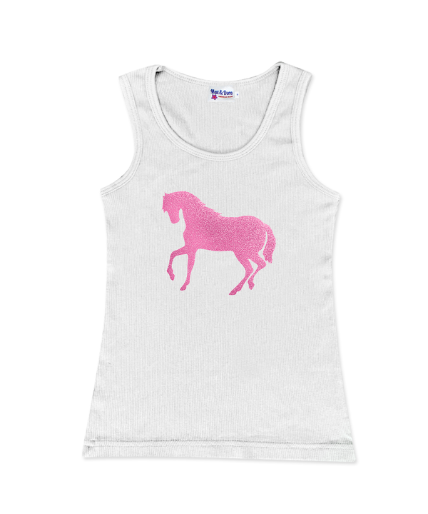 Pink Sparkle Horse White Jersey Tank Top Available in 4 Colors