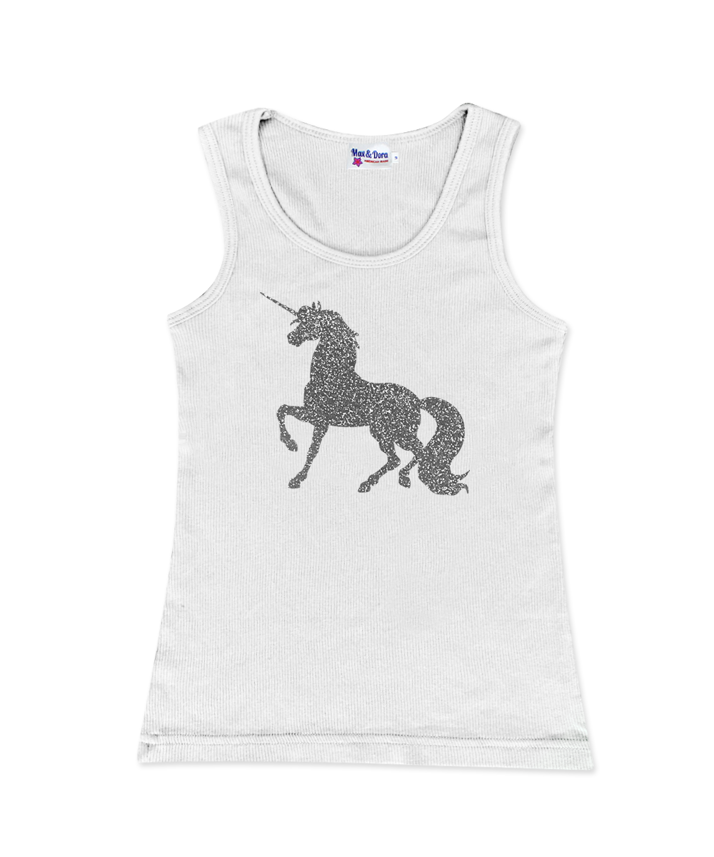 Silver Sparkle Unicorn Jersey Tank Top Available in 5 Colors