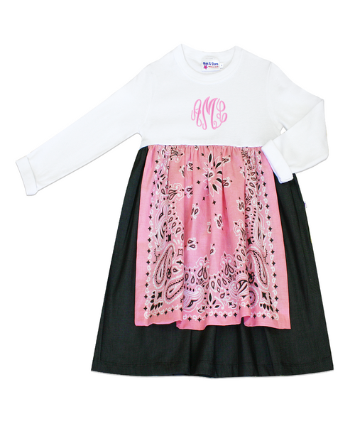 Dakota Pink Long Sleeve Bandana Tee Shirt Dress