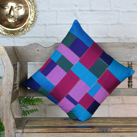Purple and Blue Patchwork Cushion Cover