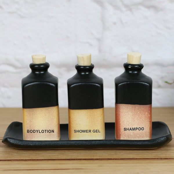 Casting Amenity 3 Bottles Set Black & Pottery