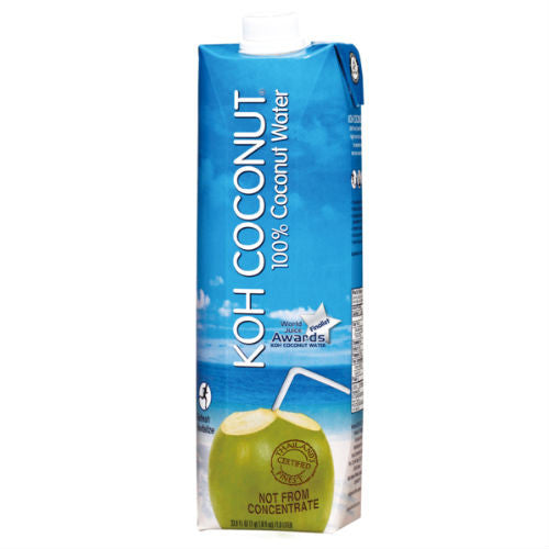 KOH COCONUT 100% Coconut Water - 33.8 FL. OZ. /1.0 LITER (12 Pack)
