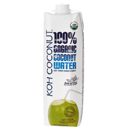 KOH COCONUT 100% Organic Coconut Water - 33.8 FL. OZ. / 1.0 LITER (12 pack)