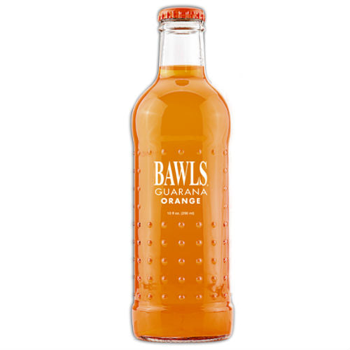 BAWLS Guarana Orange Soda - 10 oz  (12 Glass Bottles)