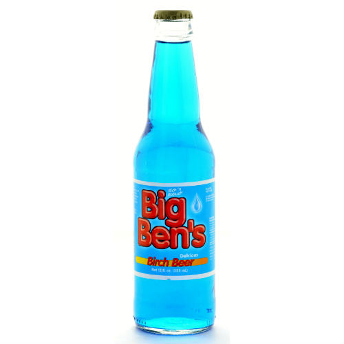 Big Ben's BLUE Birch Beer Soda - 12 OZ (12 Glass Bottles)