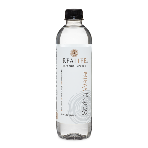 REALIFE Caffeinated Spring Water 100mg - 16.9 oz (Plastic Bottles)