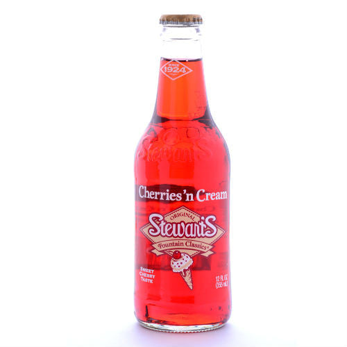 Stewart's Cherries N Cream Soda - 12 oz (12 Glass Bottles)
