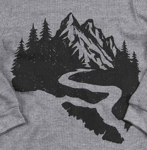 Adult Unisex Landscape Mountain Map thermal waffle sweater
