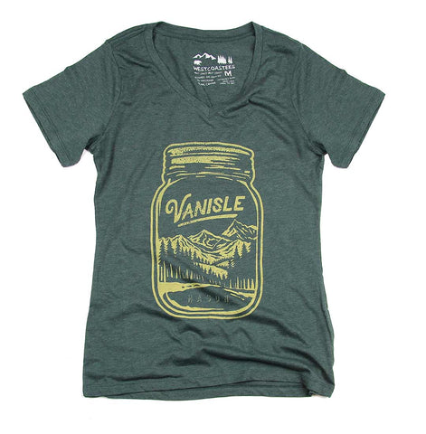 Forest Mason Jar V-neck t-shirt