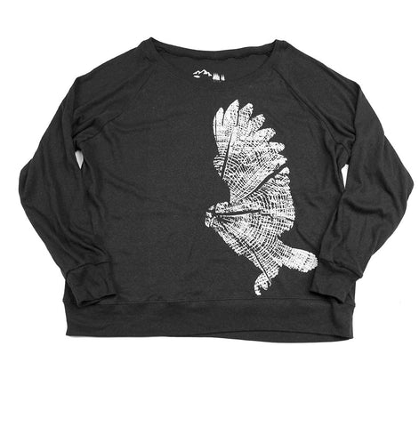 Women's Wood Owl Triblend Long Sleeve Raglan Pullover