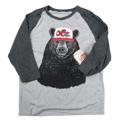 Adult Unisex Lucky Bear Raglan 3/4 Sleeve