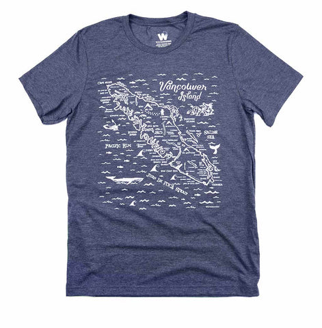 Adult Unisex Van Isle Map T-shirt