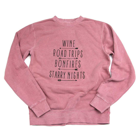 Adult Women's Wine and Roadtrips crewneck sweater