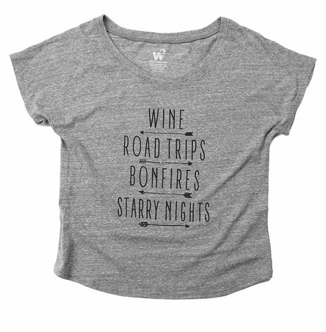 Women's Wine and Roadtrips Dolman Tee