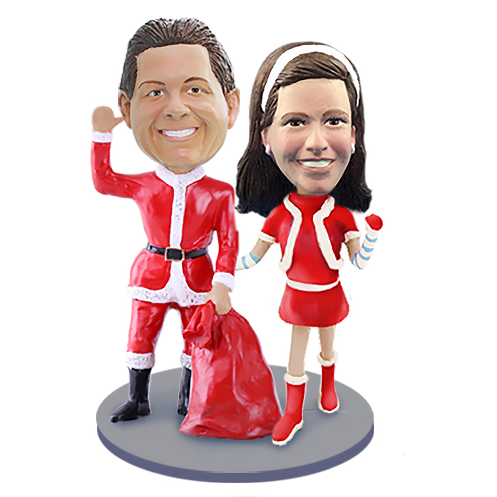 Custom Bobbleheads: Mr & Mrs Claus