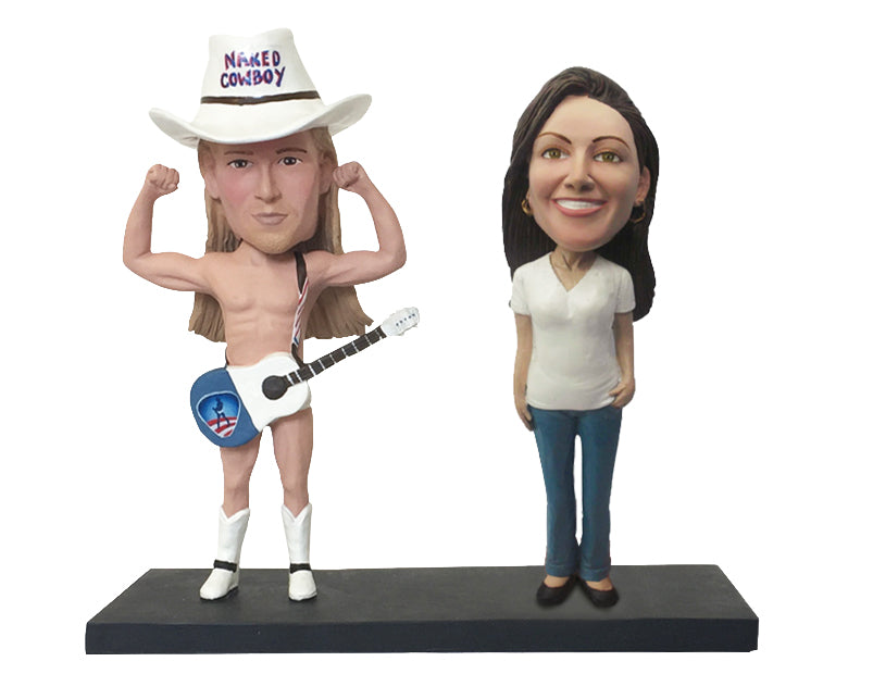 Naked Cowboy Custom Bobblehead: With Female Fan