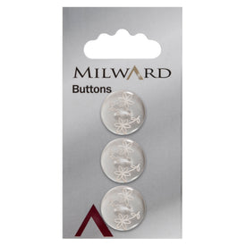 Milward Knap - 0871 - Transparent blomster - 18 mm - 3 stk