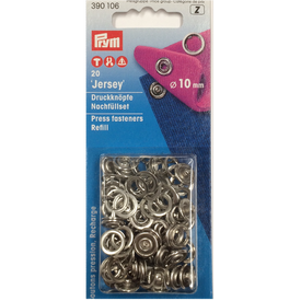 Prym - Metaltrykknapper - Ring - Sølv - 10 mm - Refil